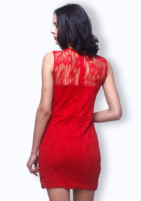 Lace Desires Dress - Red
