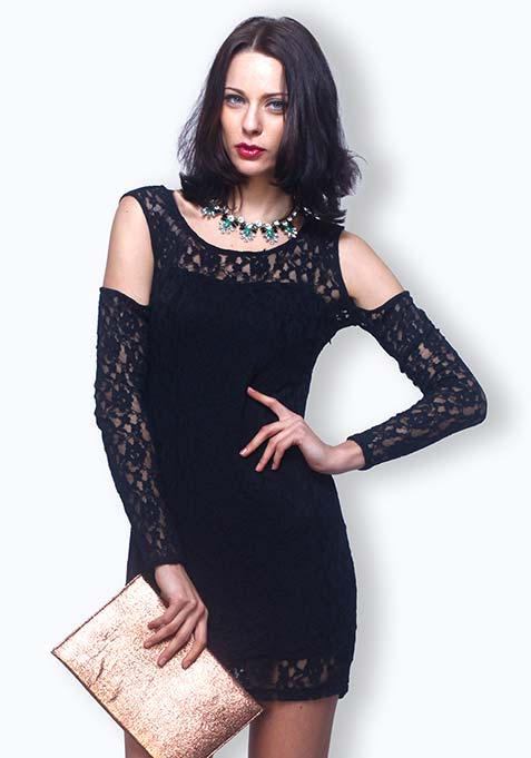 Chic Cuts Lace Dress - Black