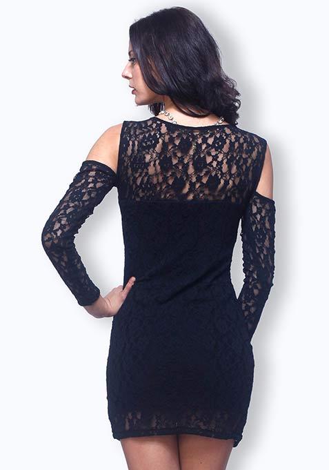 Chic Cuts Lace Dress - Black