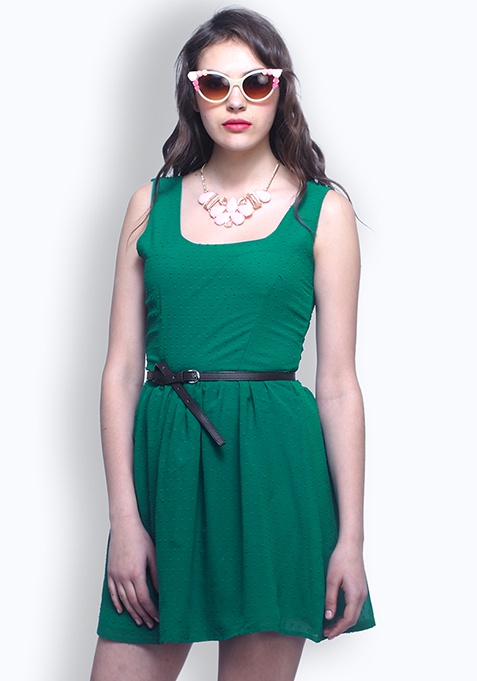 Sweet Sunday Skater Dress - Green