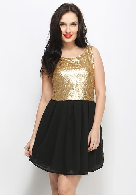 Forever Nights Skater Dress - Black