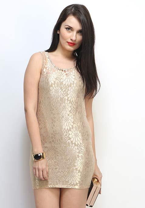 Gold Rush Lace Dress