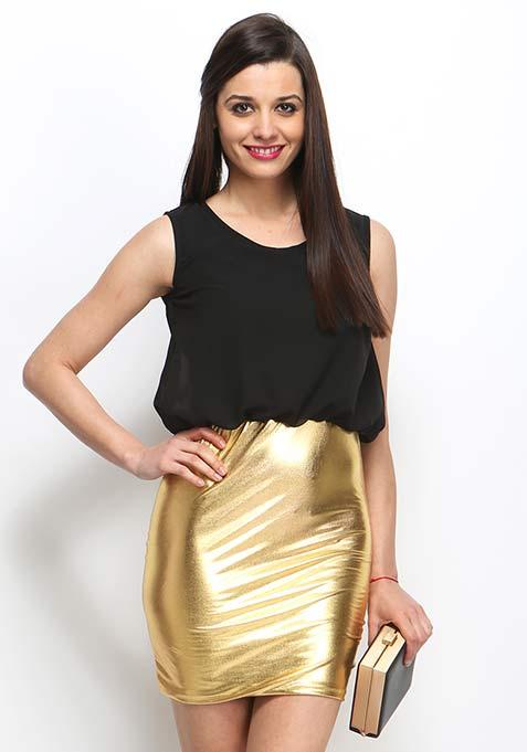 Night Flicker Blouson Dress - Gold