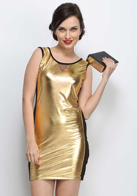 Metal Fusion Bodycon Dress - Gold