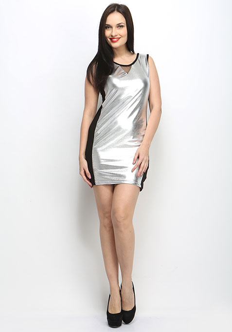 Metal Fusion Bodycon Dress - Silver