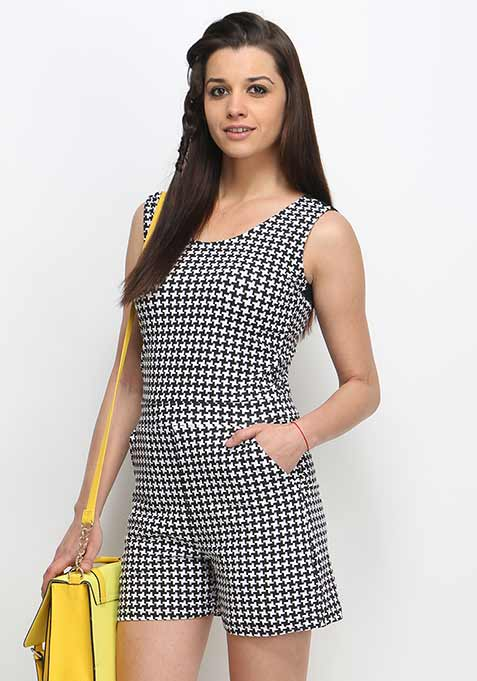 Laced Back Playsuit - Houndstooth