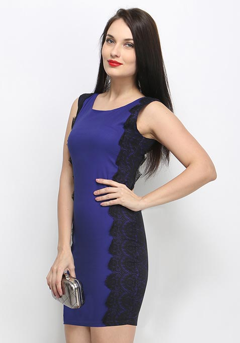 Mirror Lace Bodycon Dress - Blue