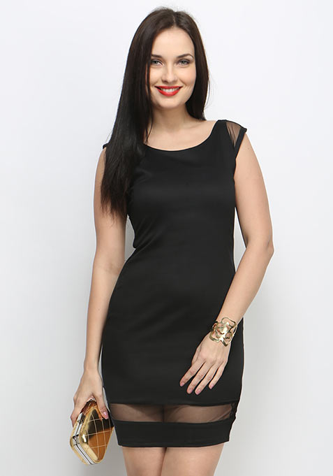 Night Thrill Bodycon Dress - Black