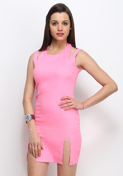 Split Trip Bodycon Dress - Blush