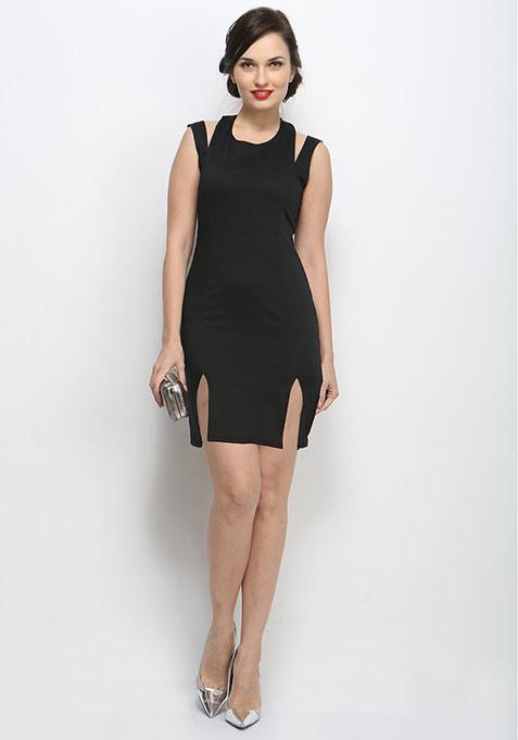 Split Trip Bodycon Dress - Black