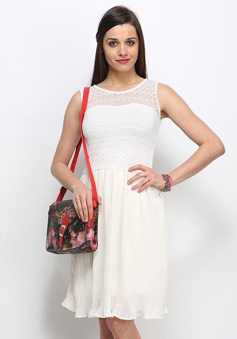 Sweet Pleat Midi Dress - Ivory