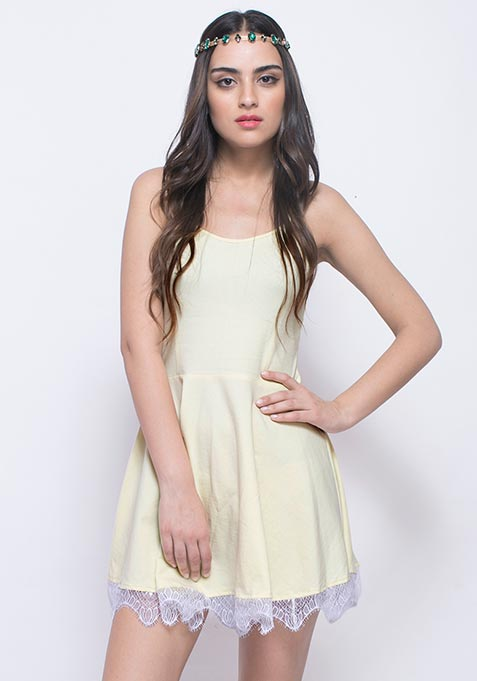 Day Dreaming Skater Dress - Lemon