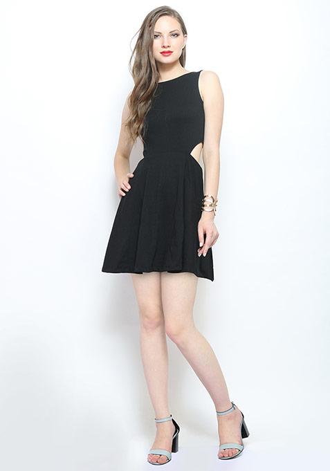 Sweet Tease Cutaway Dress - Black
