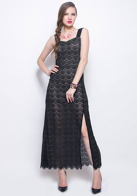 Adore Me Lace Maxi Dress - Black