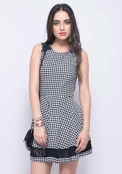 Lace Hints Skater Dress - Houndstooth
