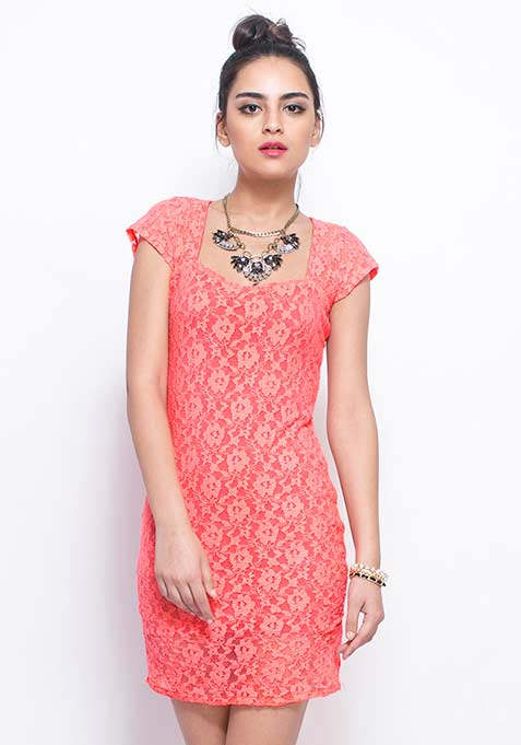 Lace Chic Bodycon Dress - Coral