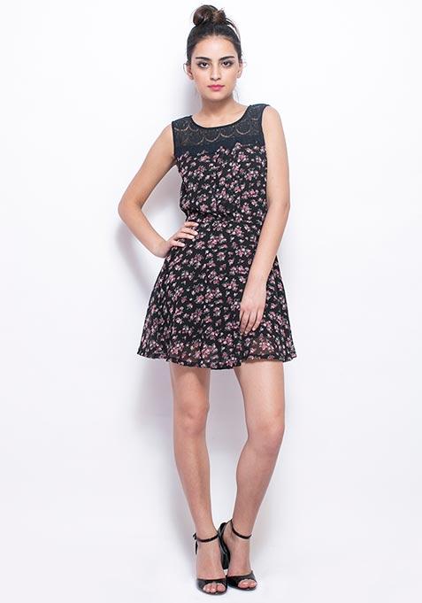 Lace Trims Floral Skater Dress