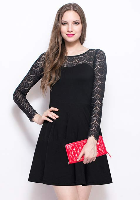 Get Laced Skater Dress - Black