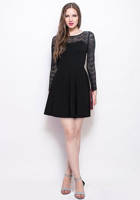 Get Laced Skater Dress - Black