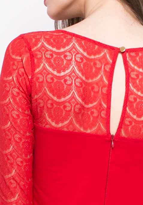 Get Laced Skater Dress - Red