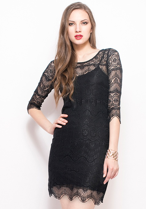 Sheer Awesome Lace Dress - Black