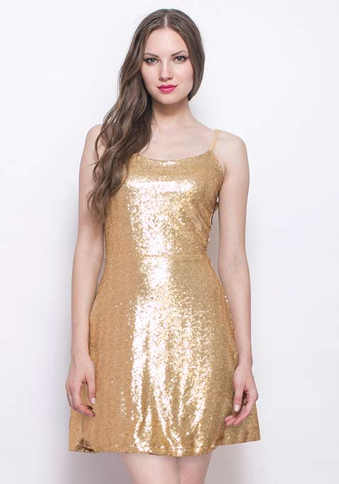 Dancing Queen Sequin Dress - Gold