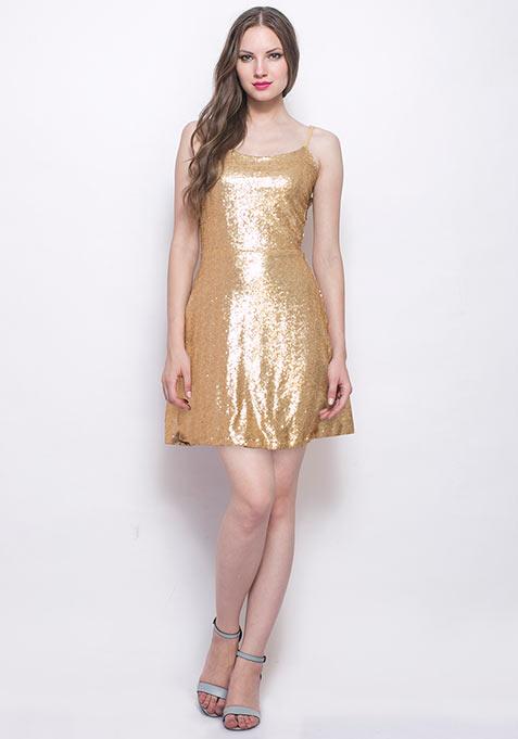 Dancing Queen Sequin Dress - Gold