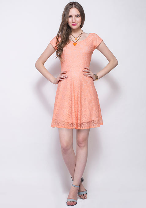 Le Parisian Skater Dress - Peach