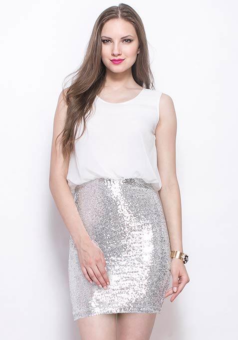 Silver Sizzle Blouson Dress