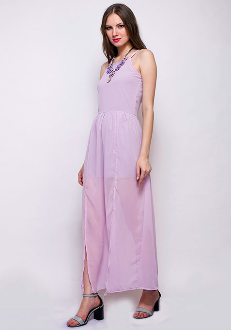 Sweet Lilac Slit Maxi Dress