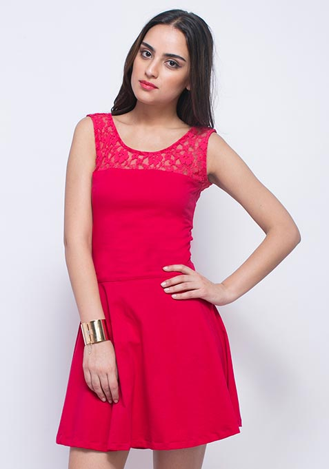 Lace Mire Skater Dress - Pink
