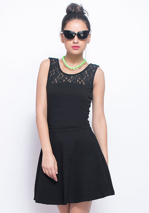 Lace Mire Skater Dress - Black