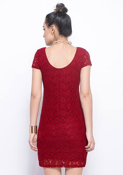 In The Deep Bodycon Dress - Burgundy