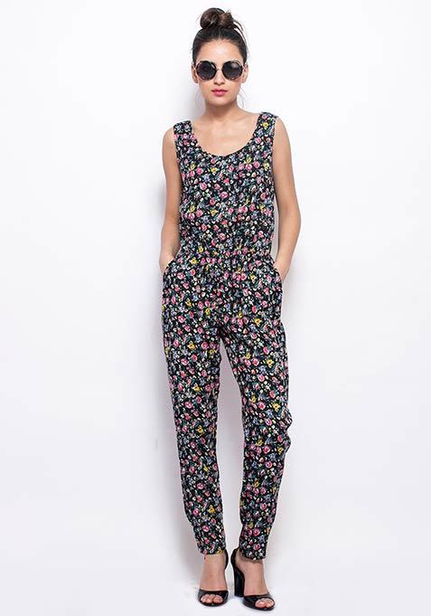 Zipped Through Jumpsuit - Floral