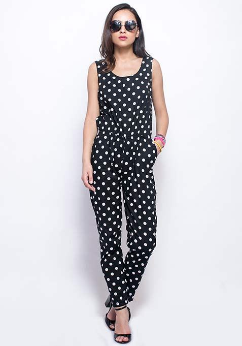 Zipped Through Jumpsuit - Polka