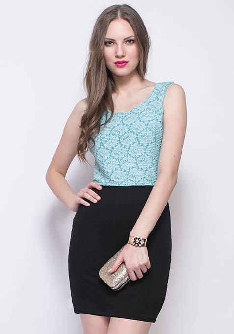 Pastel Plush Bodycon Dress - Blue