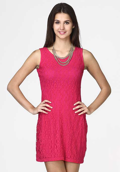 Pink Perfect Lace Shift Dress