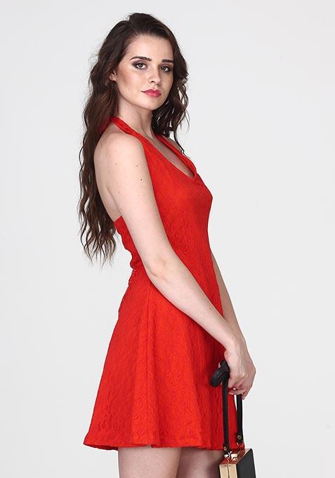 Girl Glam Halter Dress - Tangerine