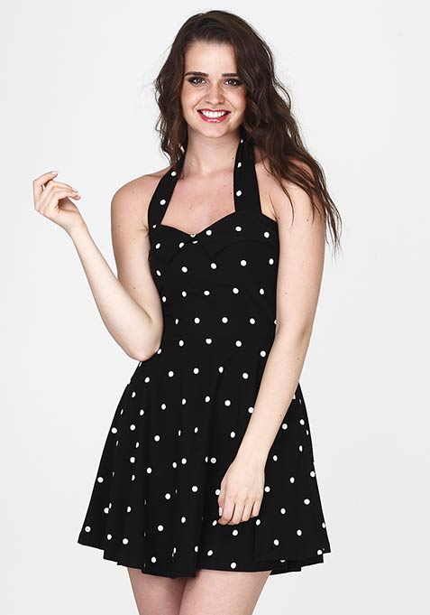 Heart Play Skater Dress - Polka