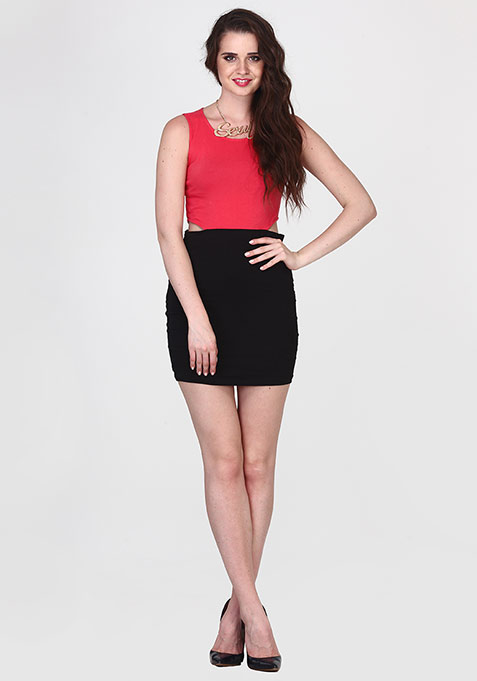 Coral Stride Cutout Dress