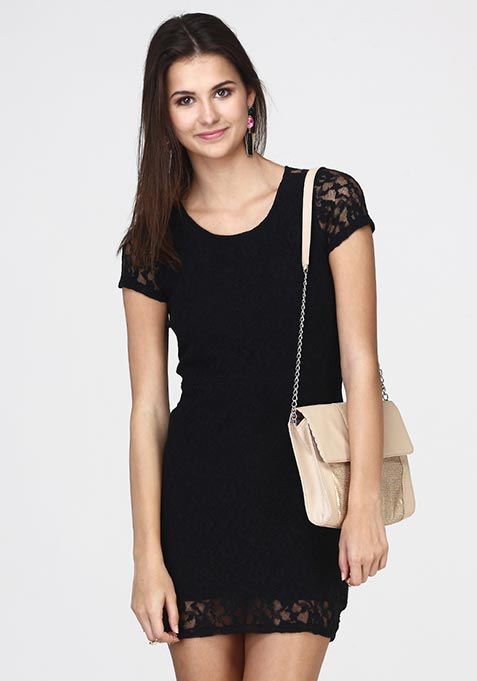 Wink Back Lace Dress - Black