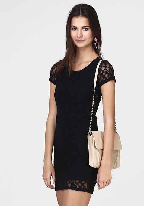 Wink Back Lace Dress - Black