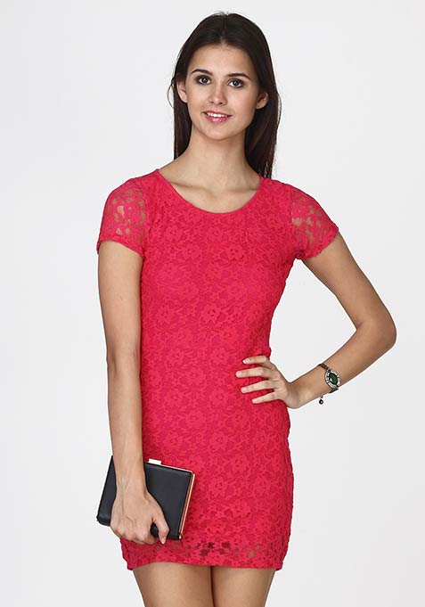 Wink Back Lace Dress - Pink