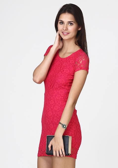 Wink Back Lace Dress - Pink