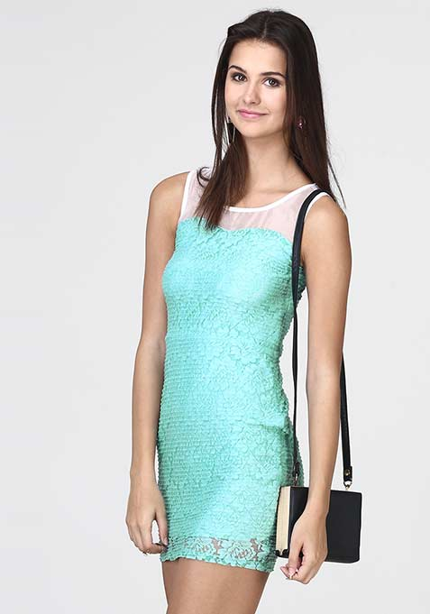Lace Sheen Bodycon Dress - Blue