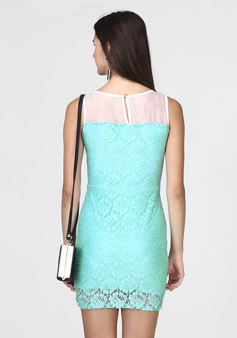 Lace Sheen Bodycon Dress - Blue