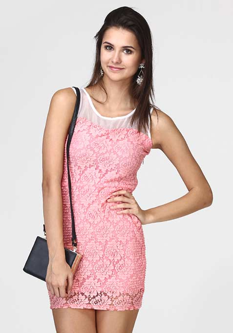 Lace Sheen Bodycon Dress - Pink