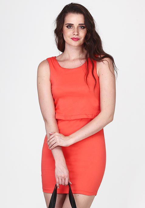 Sliding Layer Bodycon Dress - Coral