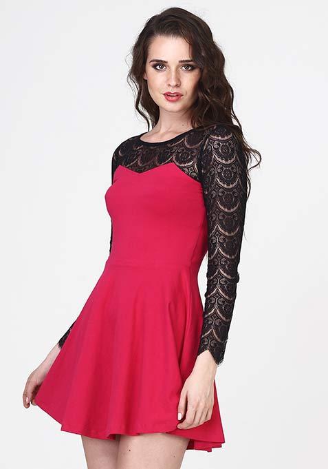 Get Laced Skater Dress - Pink