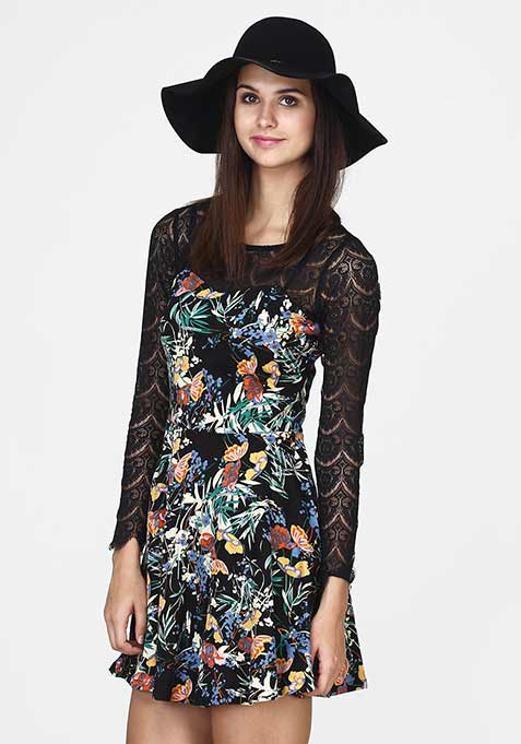 Get Laced Skater Dress - Floral